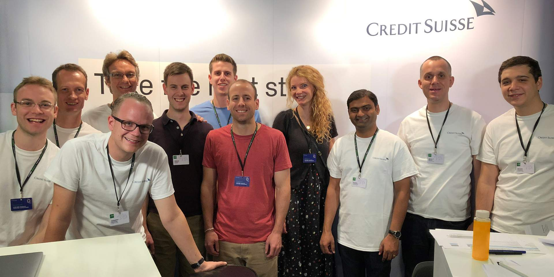 The Credit Suisse team with the team that won their challenge