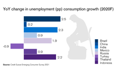 YoY change in unemployment (pp) consumption growth