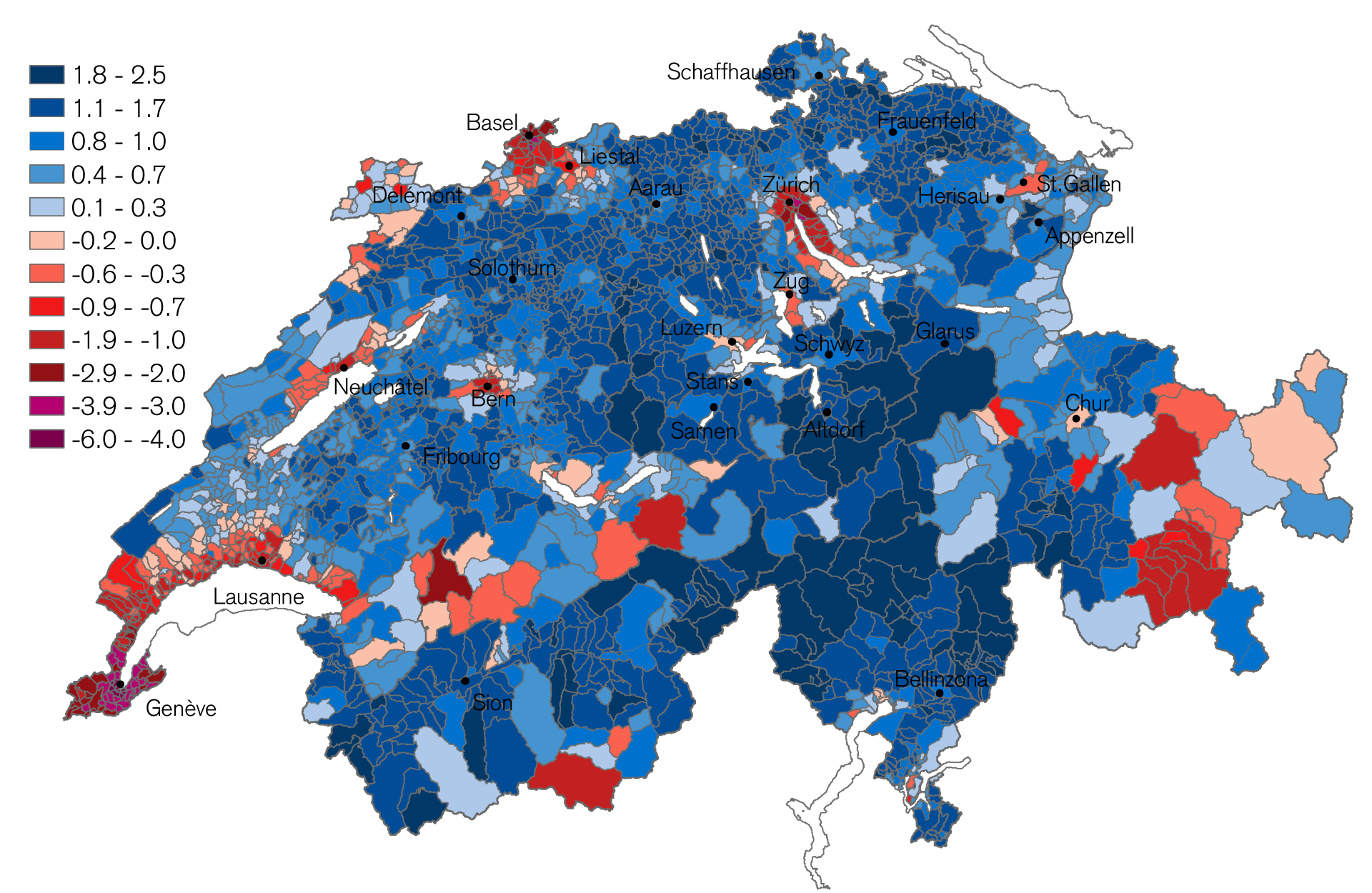Freely Disposable Income in the Swiss Municipalities 2016