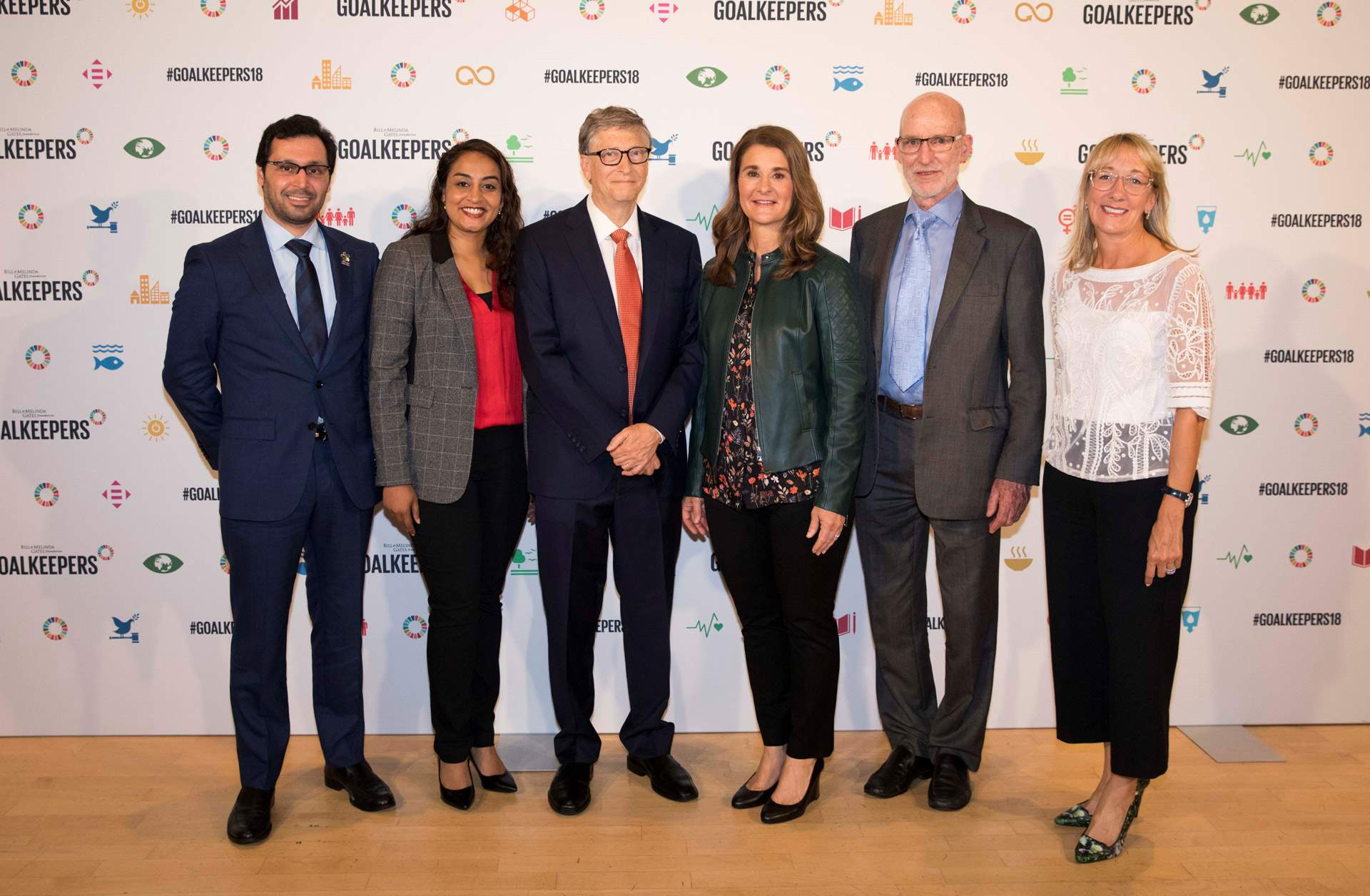 Bill & Melinda Gates Foundation: Goalkeepers 2018. From left: Tariq Al Garg (Dubai Cares, CEO), Dr Geetha Murali (CEO Room to Read); Bill Gates; Melissa Gates; John Bothamley (Four Acre Trust), Marisa Drew, CEO Impact Advisory and Finance Credit Suisse.