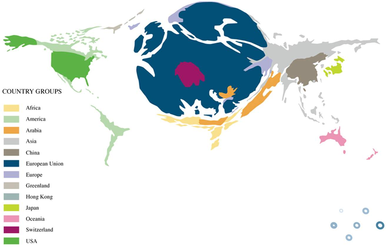 The world scaled to EU export destinations