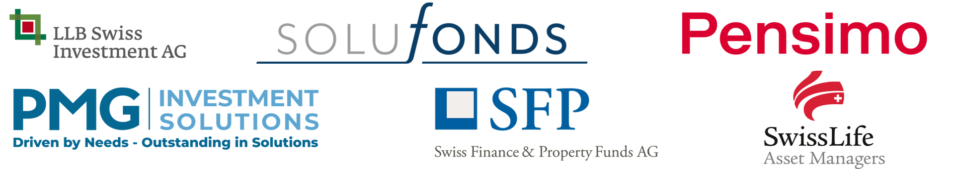 LLB Swiss Investment AG, Solufonds, Pensimo, PMG Investment Solutions, Swiss Finance & Property Funds AG, Swiss Life Asset Managers