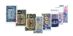 The 100 franc notes from all nine series of banknotes.