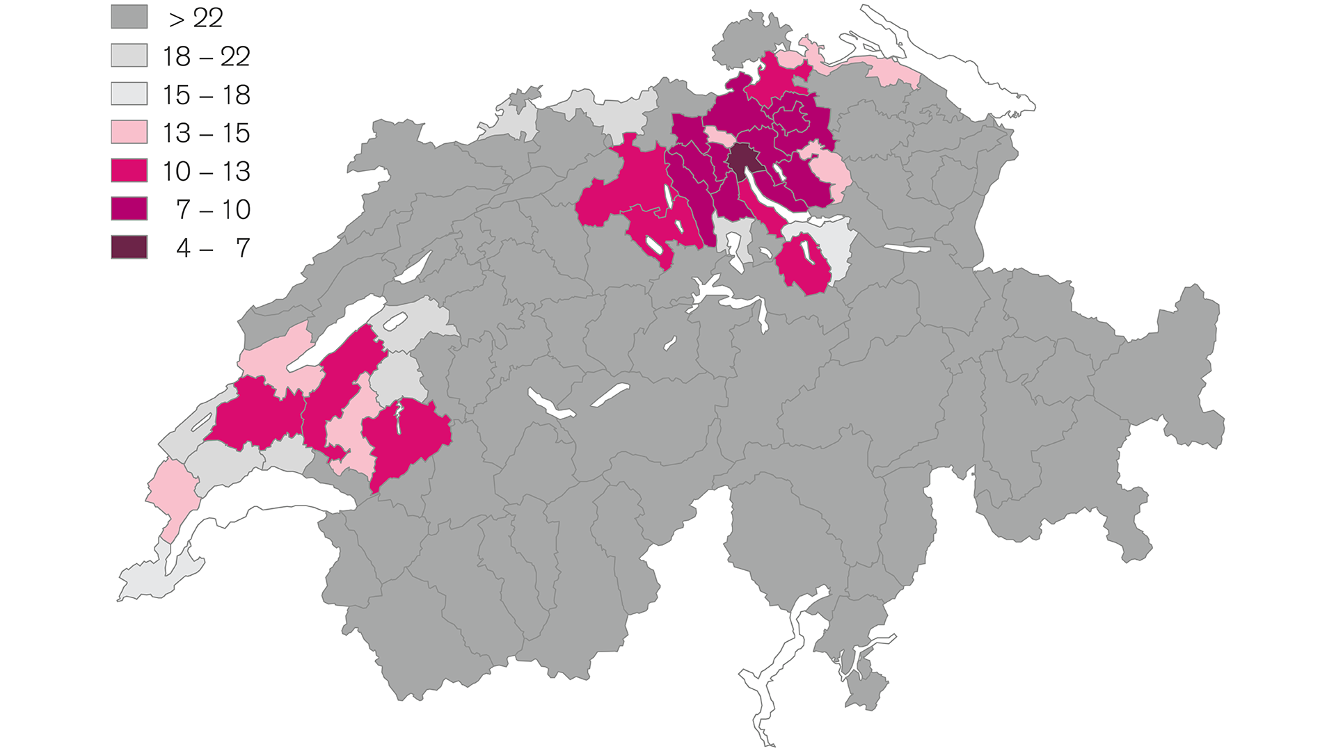 Building land in Switzerland is most scarce in Zurich