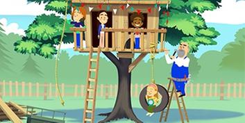 The Viva Kids in their tree house with Mr. Cash standing on the ladder