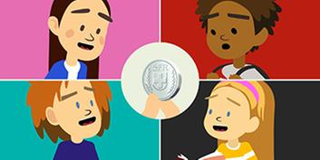 Image with the Viva Kids and a coin in the middle