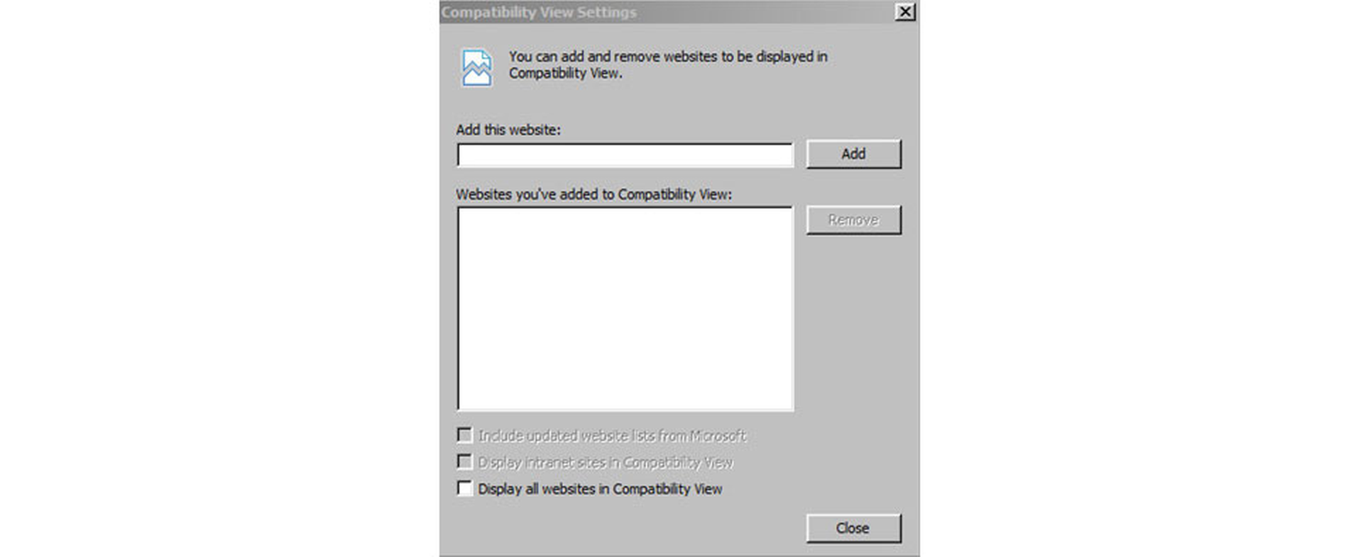 Compatibility View Setting in Internet Explorer